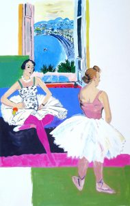 Pretty Ballerinas, gouache on paper